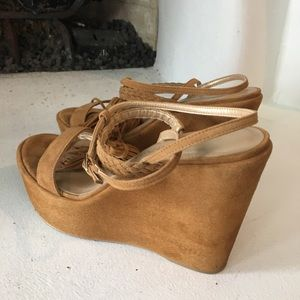 Stuart Weizman suede leather wedge sandals